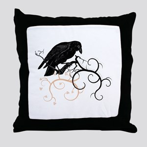 Black Raven Swirl Branches Throw Pillow